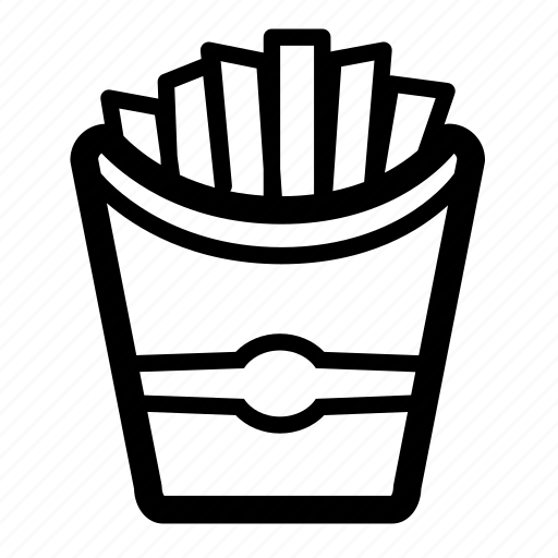 chips, cooking, eat, food, fries, line icon