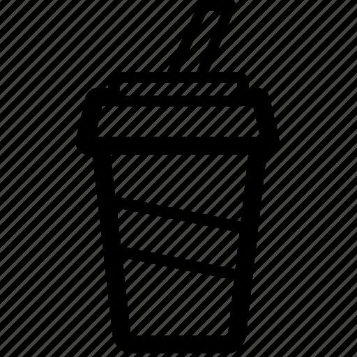 cooking, drink, food, line, milkshake, straw icon