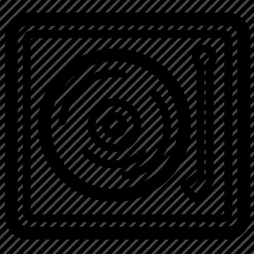 deck, dj, line, music, scratch, vinyl icon