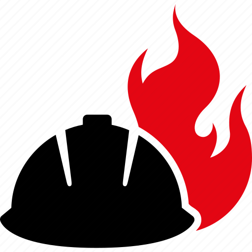 burn, danger, fire, flame, helmet, protection, safety icon