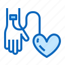 blood, donation, donor, hand, heart, transfusion icon