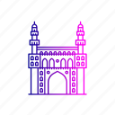 charminar, heritage, hyderabad, india, islamic, landmark, structure icon