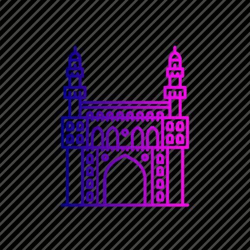 charminar, heritage, hyderabad, india, islamic, landmark, structure icon