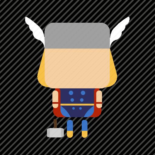 .svg, cute, hammer, hero, mini, thunder icon