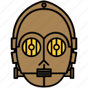 droid, robot, star wars, c3p0 icon