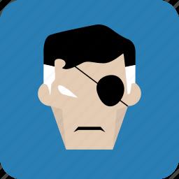 avatar, eye, man, mask, one eye, power icon