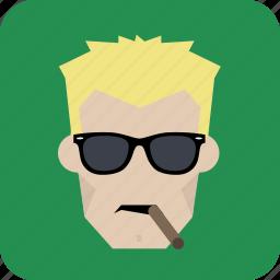 avatar, cigar, cool, glasses, man, smoking icon