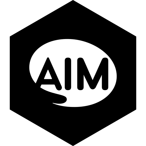 aim, hexagon, media, social icon
