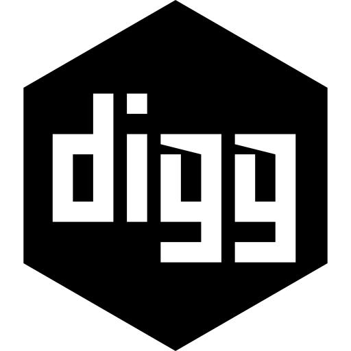 digg, hexagon, media, social icon