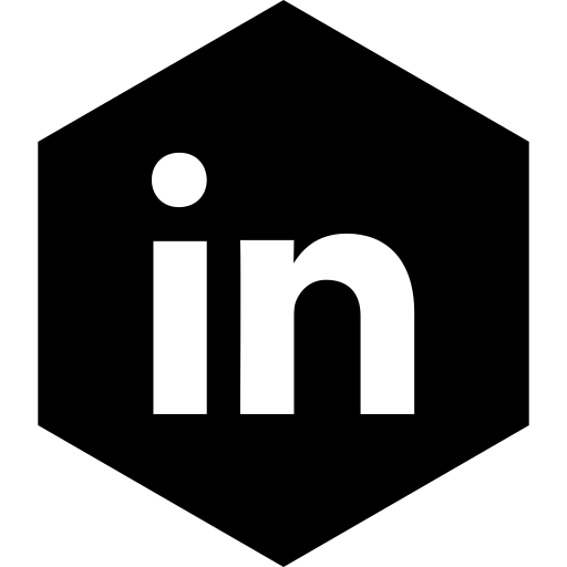 hexagon, linkedin, media, social icon