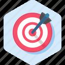 arrow, bullseye, goal, market, seo, target icon