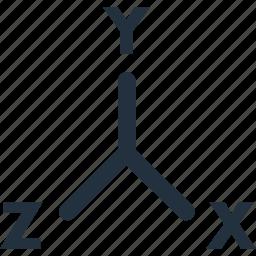 3d, axis, design, dimension, dimensions, xyz icon
