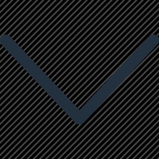arrow, bottom, direction, down, navigate, navigation icon