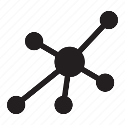 connect, dots, hierarchy, lines, presentation, science icon