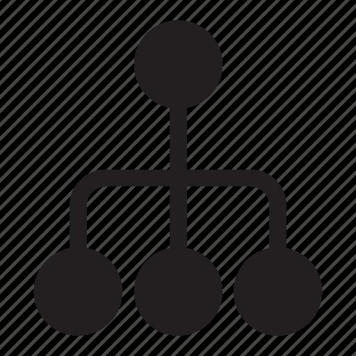 connection, dots, hierarchy, lines, presentation icon