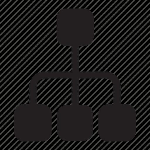 boxes, connection, hierarchy, lines, presentation, tree icon