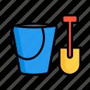 blade, bucket, game, play, sandbox, tool, toy icon