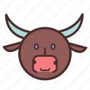 bull, calendar, chinese, face, new, year icon