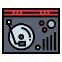 music, player, record, technology, turntable icon