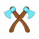 axe, cartoon, crossed, equipment, tool, weapon, wood icon