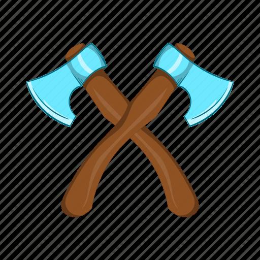 axe, cartoon, crossed, equipment, tool, weapon, wood icon