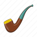 cartoon, pipe, retro, smoke, tobacco, wood, wooden icon