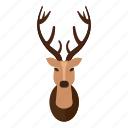 cartoon, deer, deer head, head, horn, horned, logo icon