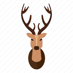 cartoon, deer, deer head, head, horn, horned, logo icon