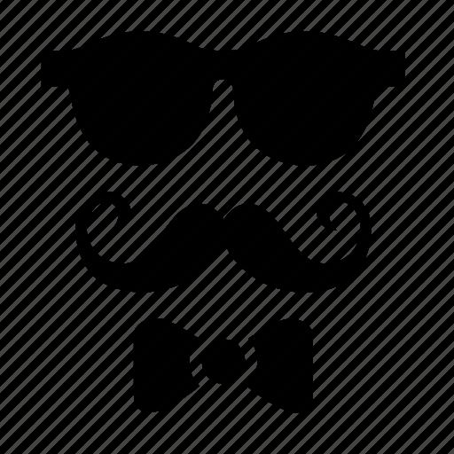 bow, hispter, man, moustache, mustache, style, sunglasses icon