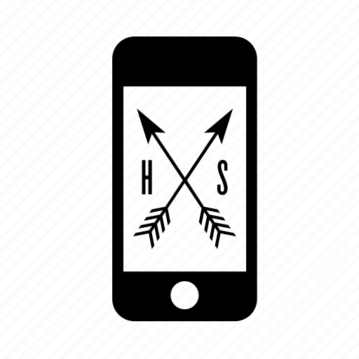 arrow, hispter, phone, smartphone, style, technology icon