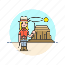 cowboy, desert, hat, history, lasso, west, wild, woman icon