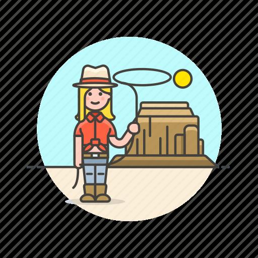 cowboy, desert, hat, history, lasso, west, wild, woman icon