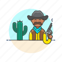 cactus, cowboy, gun, hat, history, man, west, wild icon