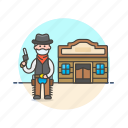 cowboy, gun, history, man, tavern, weapon, west, wild icon