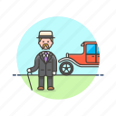 car, european, formal, gentleman, history, man, retro icon