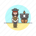 hat, history, outlaw, pirate, ship, woman icon