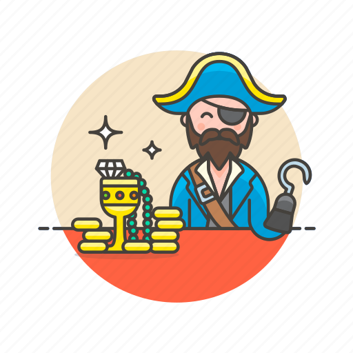 gold, hat, history, hook, man, outlaw, pirate icon