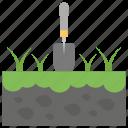 garden care, gardening, groundskeeping, landscaping, shovel in ground