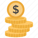coins, coins stack, dollar coins, investment, saving icon