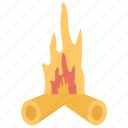 bonfire, campfire, fire, firewood, flame icon
