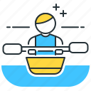 kayaking, man, paddle, river, slopes icon