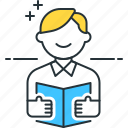 book, reader, reading, reading book icon