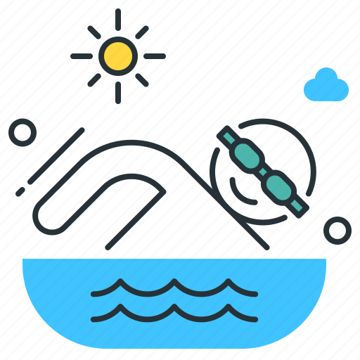 goggles, pool, swimmer, swimming icon