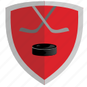 club, game, hockey, puck, red, shield icon