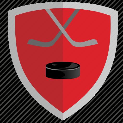 club, game, hockey, puck, red, shield icon