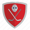 club, hockey, puck, red, shield icon