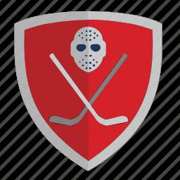 club, hockey, puck, red, shield icon