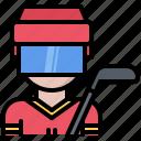 hockey, man, player, protection, sport, stick icon