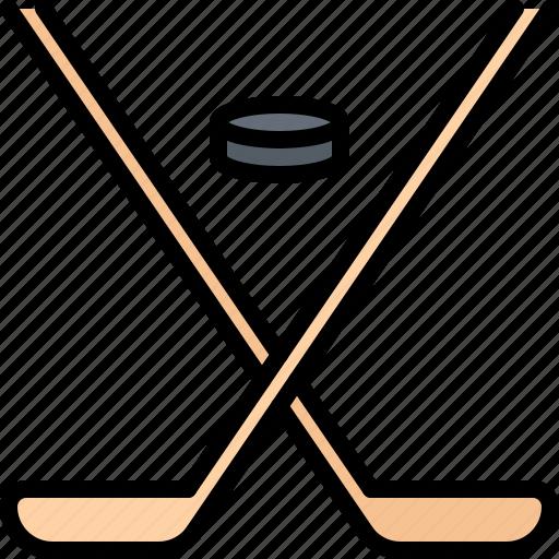 hockey, match, player, puck, sport, stick icon