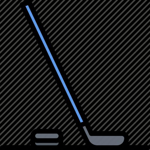 hockey, player, puck, sport, stick icon
